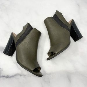🔥Call it Spring $70 Army Green Vegan Leather Open-Toe Sandal Ankle Booties 7